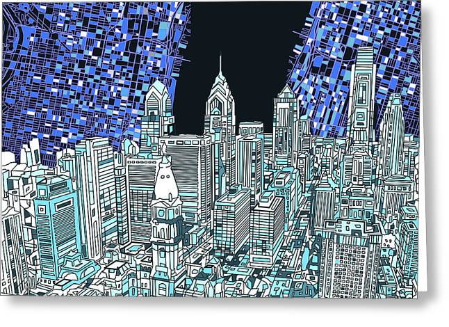 Phillies Posters Greeting Cards - Philadelphia Map Panorama Greeting Card by MB Art factory