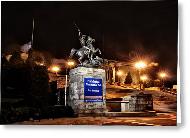 Philadelphia Museum Of Art Greeting Cards - Philadelphia Museum of Art at Night - East Entrance Greeting Card by Bill Cannon