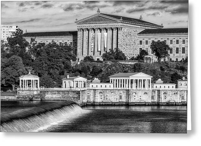 Watershed Greeting Cards - Philadelphia Museum of Art BW Greeting Card by Susan Candelario