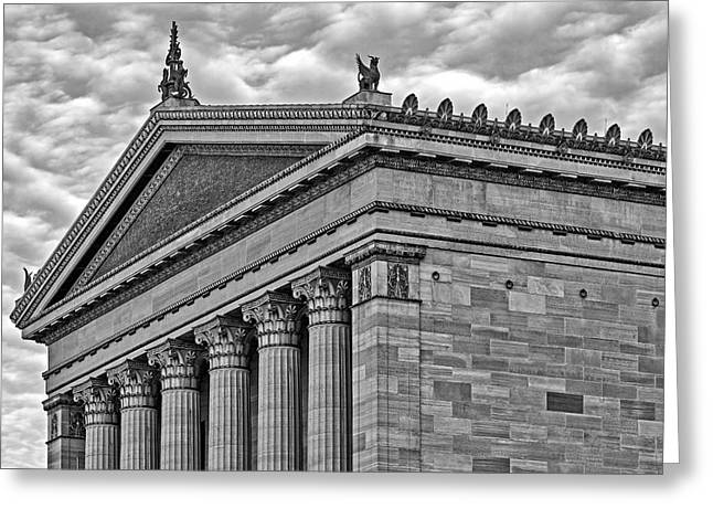 Architectural Greeting Cards - Philadelphia Museum Of Art Column Details BW Greeting Card by Susan Candelario