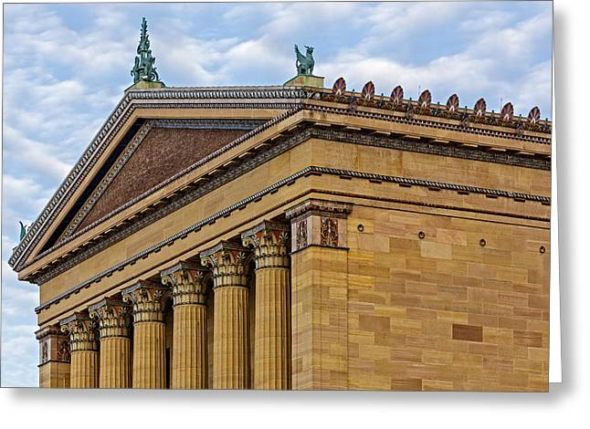 Philadelphia Museum Of Art Greeting Cards - Philadelphia Museum Of Art Column Details Greeting Card by Susan Candelario