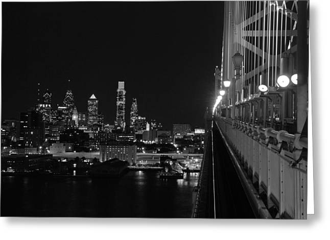 Ben Franklin Bridge Greeting Cards - Philadelphia night b/w Greeting Card by Jennifer Lyon