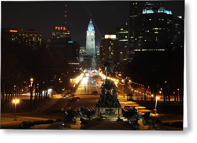 Philadelphia Digital Greeting Cards - Philadelphia Nighttime Greeting Card by Bill Cannon