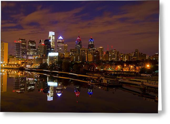 South Philadelphia Digital Greeting Cards - Philadelphia on the Schuylkill at Night Greeting Card by Bill Cannon