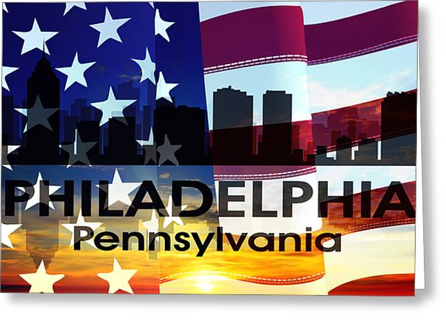 Philly Mixed Media Greeting Cards - Philadelphia PA Patriotic Large Cityscape Greeting Card by Angelina Vick