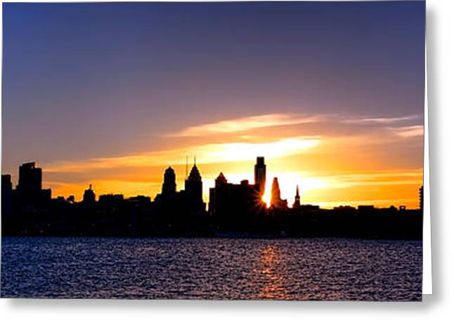 Center City Greeting Cards - Philadelphia Panoramic Sunset Greeting Card by Olivier Le Queinec