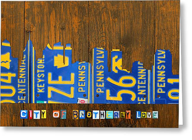 Phillies Mixed Media Greeting Cards - Philadelphia Pennsylvania City of Brotherly Love Skyline License Plate Art Greeting Card by Design Turnpike