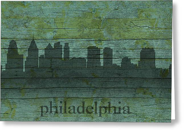 Board Mixed Media Greeting Cards - Philadelphia Pennsylvania Skyline Art on Distressed Wood Boards Greeting Card by Design Turnpike