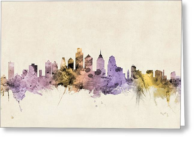 Philadelphia Skyline Greeting Cards - Philadelphia Pennsylvania Skyline Greeting Card by Michael Tompsett