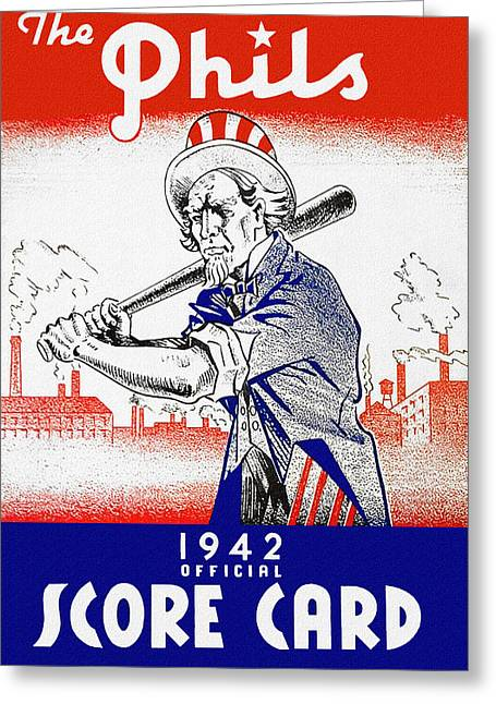 Baseball. Philadelphia Phillies Paintings Greeting Cards - Philadelphia Phillies 1942 Score Card Greeting Card by John Farr