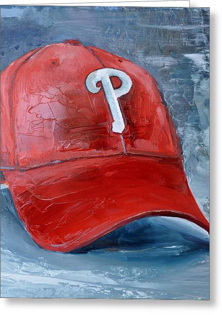 Baseball. Philadelphia Phillies Paintings Greeting Cards - Philadelphia Phillies Greeting Card by Lindsay Frost