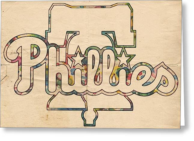 Phillies Posters Greeting Cards - Philadelphia Phillies Logo Art Greeting Card by Florian Rodarte