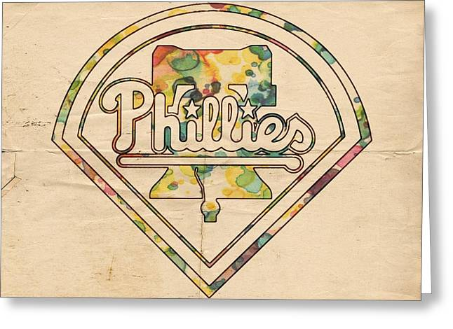 Phillies Posters Greeting Cards - Philadelphia Phillies Poster Vintage Greeting Card by Florian Rodarte