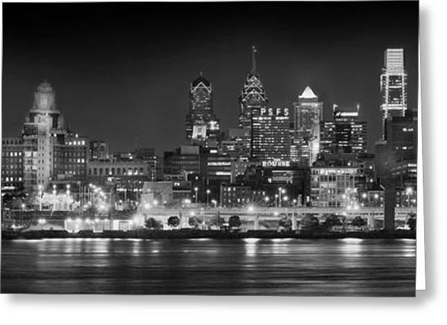 Panoramic Photographs Greeting Cards - Philadelphia Philly Skyline at Night from East Black and White BW Greeting Card by Jon Holiday