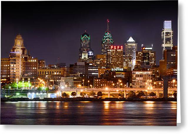 Panoramic Photographs Greeting Cards - Philadelphia Philly Skyline at Night from East Color Greeting Card by Jon Holiday