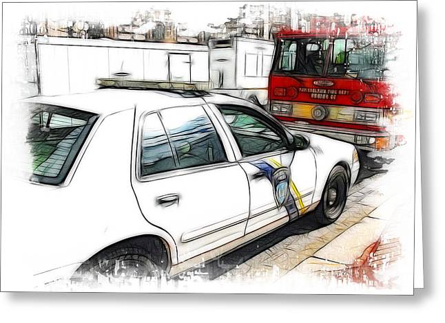 Police Traffic Control Photographs Greeting Cards - Philadelphia Police Car Greeting Card by Paul and Fe Photography Messenger