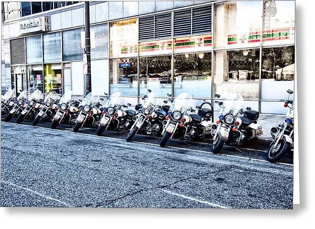 Police Motorcycles Greeting Cards - Philadelphia Police Motorcycles Greeting Card by Bill Cannon