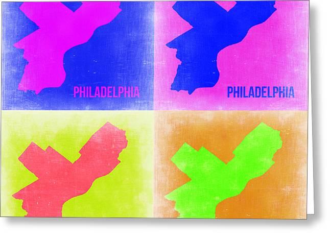 Philadelphia Street Greeting Cards - Philadelphia Pop Art Map 2 Greeting Card by Naxart Studio