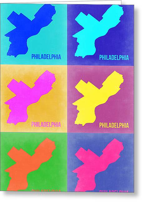 World Maps Mixed Media Greeting Cards - Philadelphia Pop Art Map 3 Greeting Card by Naxart Studio