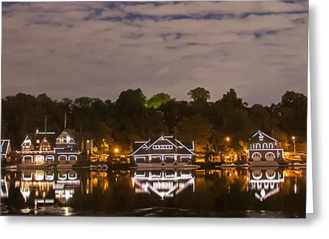 Philadelphia Digital Greeting Cards - Philadelphia Reflections - Boathouse Row - Panorama Greeting Card by Bill Cannon