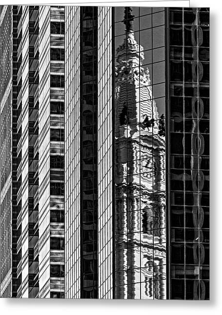 Philadelphia Reflections - Bw Greeting Card by Susan Candelario