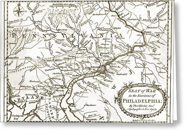 Philadelphia History Drawings Greeting Cards - Philadelphia Region - Pennsylvania - United States - 1777 Greeting Card by Pablo Romero