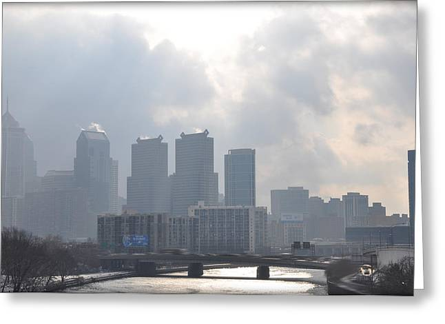 Philadelphia Digital Art Greeting Cards - Philadelphia Schuylkill River View Greeting Card by Bill Cannon