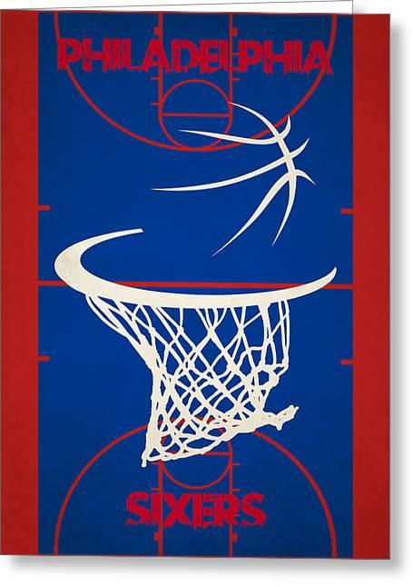 Basket Ball Greeting Cards - Philadelphia Sixers Court Greeting Card by Joe Hamilton
