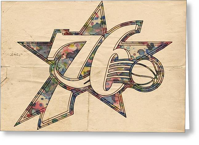 Philly Sports Greeting Cards - Philadelphia Sixers Poster Art Greeting Card by Florian Rodarte