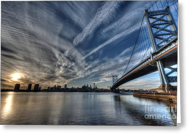 Williams Dam Greeting Cards - Philadelphia Skyline - Camden View of Ben Franklin Bridge Greeting Card by Mark Ayzenberg
