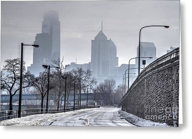 Williams Dam Greeting Cards - Philadelphia Skyline - In the Snowy Fog Greeting Card by Mark Ayzenberg