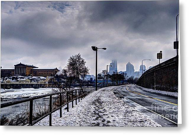 Williams Dam Greeting Cards - Philadelphia Skyline - Skyscraping Greeting Card by Mark Ayzenberg