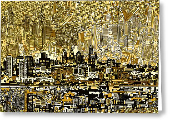 Philadelphia Digital Greeting Cards - Philadelphia Skyline Abstract 3 Greeting Card by MB Art factory