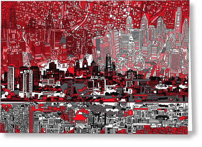 Philadelphia Greeting Cards - Philadelphia Skyline Abstract 4 Greeting Card by MB Art factory