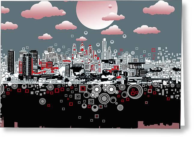 Philadelphia Digital Greeting Cards - Philadelphia Skyline Abstract 6 Greeting Card by MB Art factory