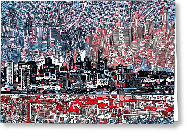 Philadelphia Greeting Cards - Philadelphia Skyline Abstract Greeting Card by MB Art factory