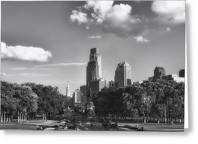 Downtown Franklin Greeting Cards - Philadelphia Skyline and Park Greeting Card by Mountain Dreams