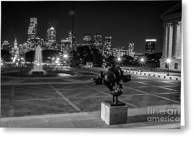 Phillies Art Greeting Cards - Philadelphia Skyline at Night Greeting Card by David Rucker