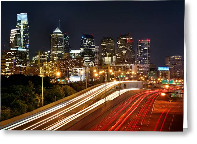 Philadelphia Skyline Greeting Cards - Philadelphia Skyline at Night in Color car light trails Greeting Card by Jon Holiday