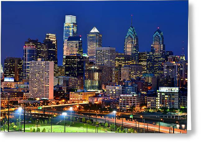 Downtown Greeting Cards - Philadelphia Skyline at Night Greeting Card by Jon Holiday