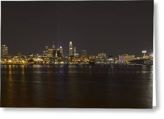 Philadelphia Framed Prints Greeting Cards - Philadelphia Skyline at Night Greeting Card by Melinda Dreyer