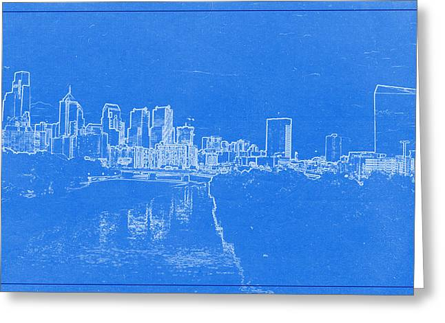 Lincoln Park Lagoon Greeting Cards - Philadelphia Skyline BluePrint Greeting Card by Celestial Images