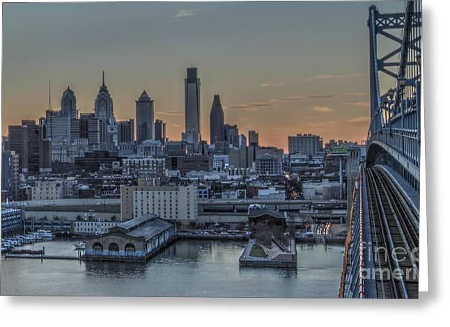 Philadelphia Skyline From Big Ben Greeting Card by Mark Ayzenberg