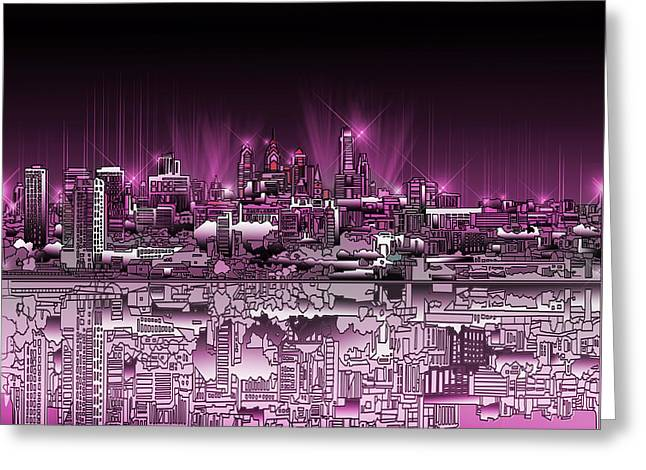 Philadelphia Digital Greeting Cards - Philadelphia Skyline  Gradient 2 Greeting Card by MB Art factory