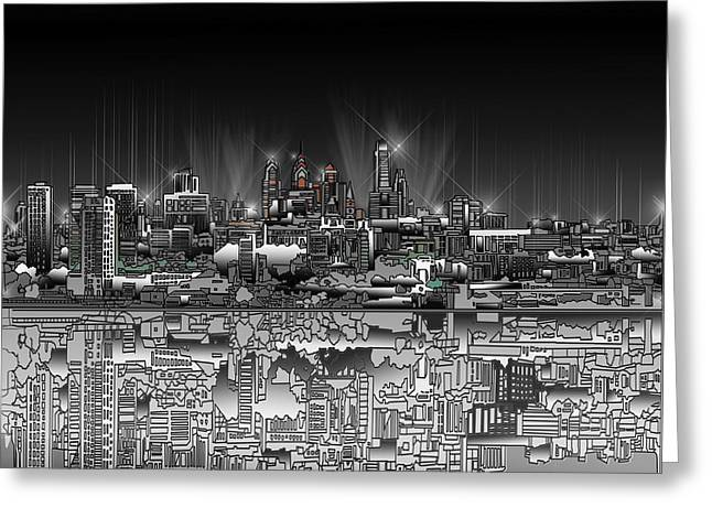Philadelphia Digital Greeting Cards - Philadelphia Skyline  Gradient Greeting Card by MB Art factory