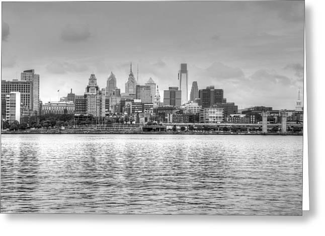 Philadelphia Skyline Greeting Cards - Philadelphia Skyline in Black and White Greeting Card by Jennifer Lyon
