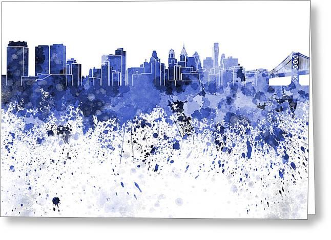 Philadelphia Paintings Greeting Cards - Philadelphia skyline in blue watercolor on white background Greeting Card by Pablo Romero