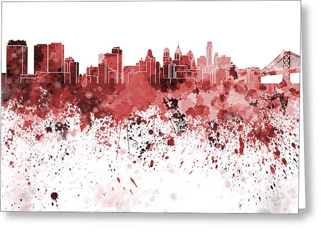 Philadelphia Greeting Cards - Philadelphia skyline in red watercolor on white background Greeting Card by Pablo Romero