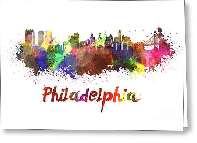 Philadelphia Paintings Greeting Cards - Philadelphia skyline in watercolor Greeting Card by Pablo Romero