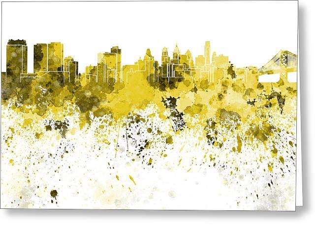 Philadelphia Greeting Cards - Philadelphia skyline in yellow watercolor on white background Greeting Card by Pablo Romero